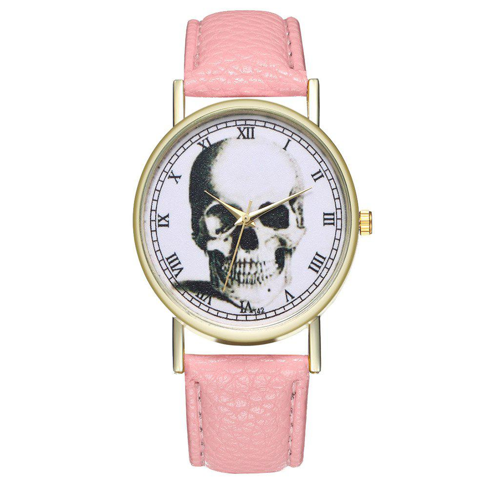 Zhou Lianfa Brand Vintage Skull Leather Watch - PINK