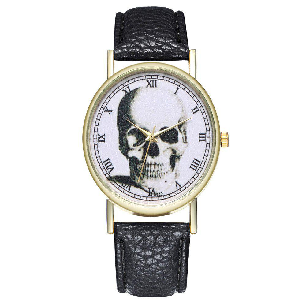 Zhou Lianfa Brand Vintage Skull Leather Watch - BLACK
