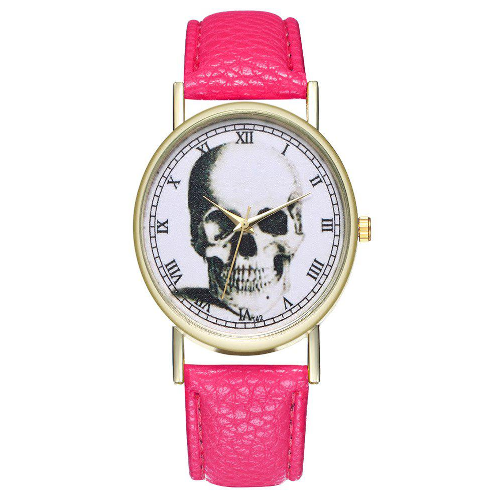 Zhou Lianfa Brand Vintage Skull Leather Watch - DIMORPHOTHECA MAGENTA