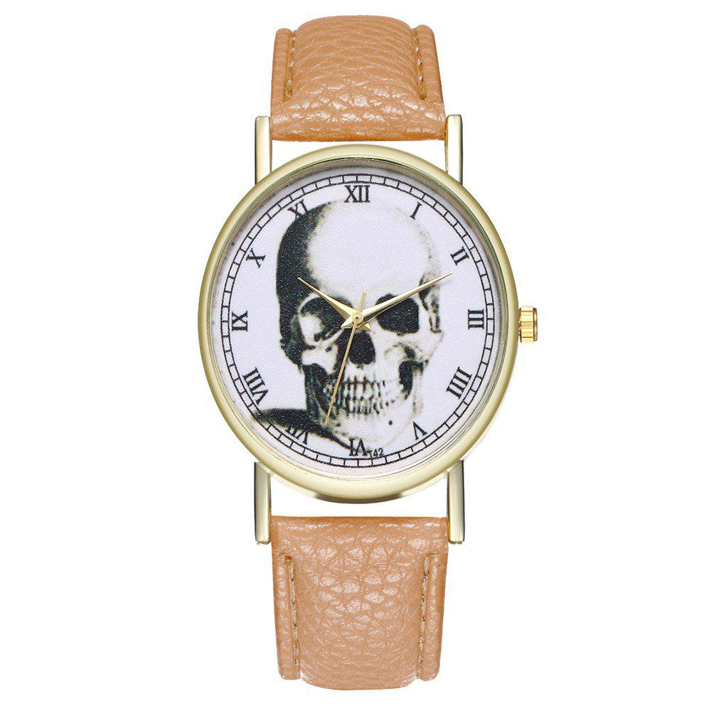 Zhou Lianfa Brand Vintage Skull Leather Watch - BEIGE