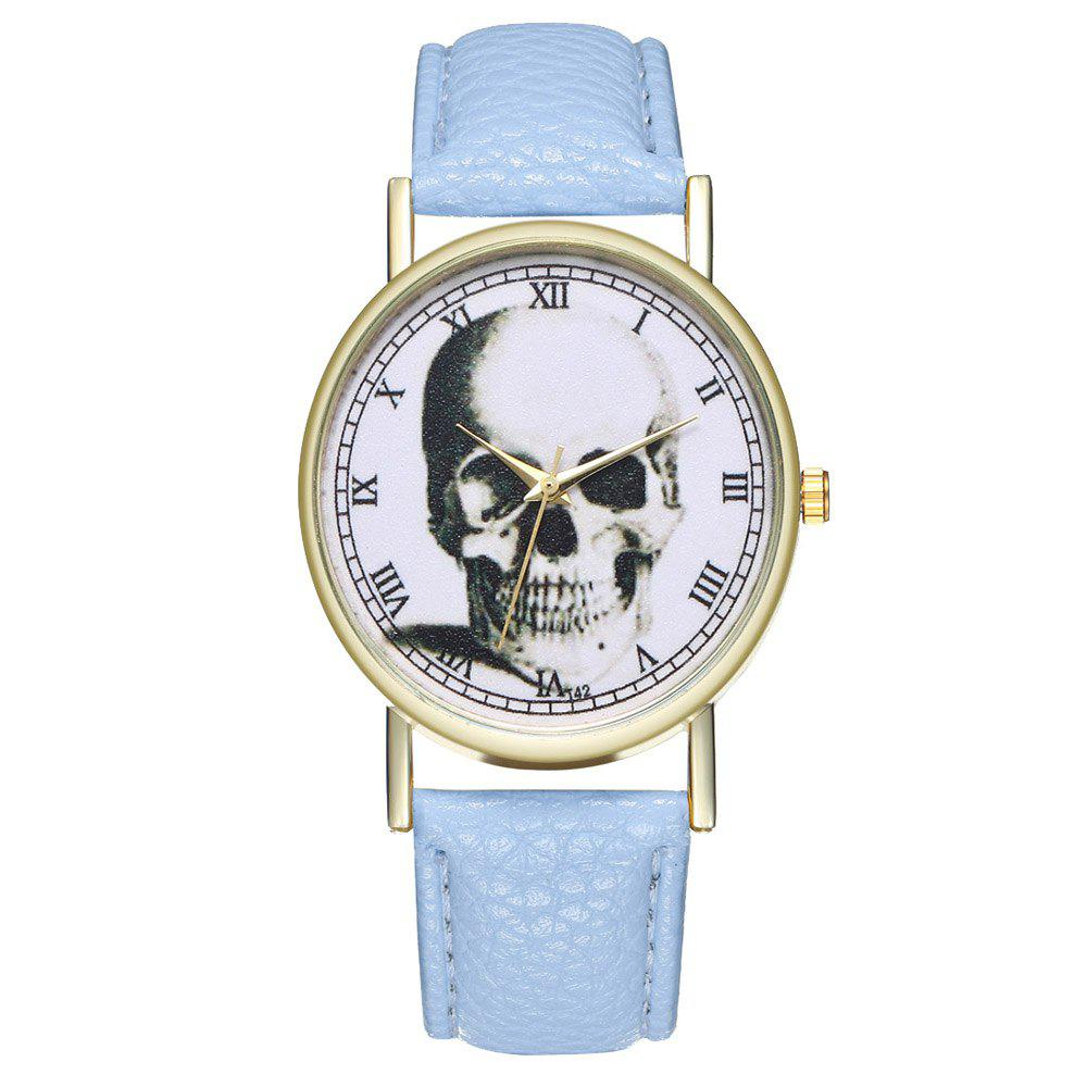 Zhou Lianfa Brand Vintage Skull Leather Watch - LIGHT BLUE