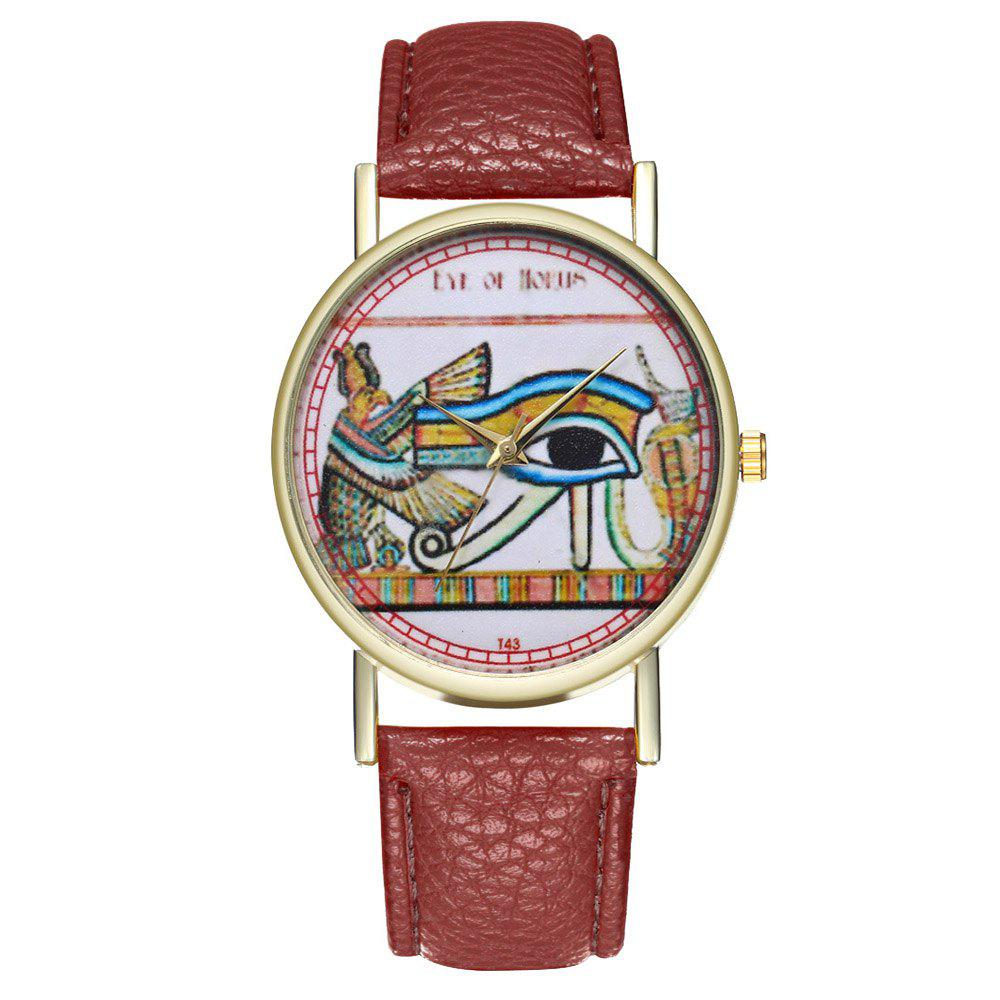 Zhou Lianfa Egyptian Eye Vintage Style Men Watch - COFFEE