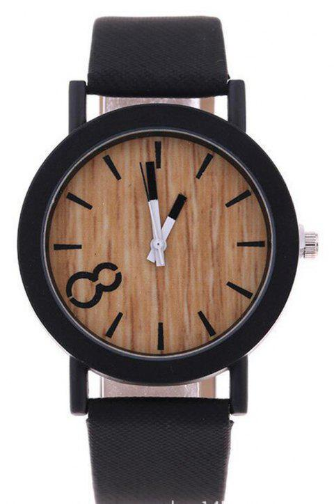 Fashion Creative Leather Band Men Quartz Watch - BLACK