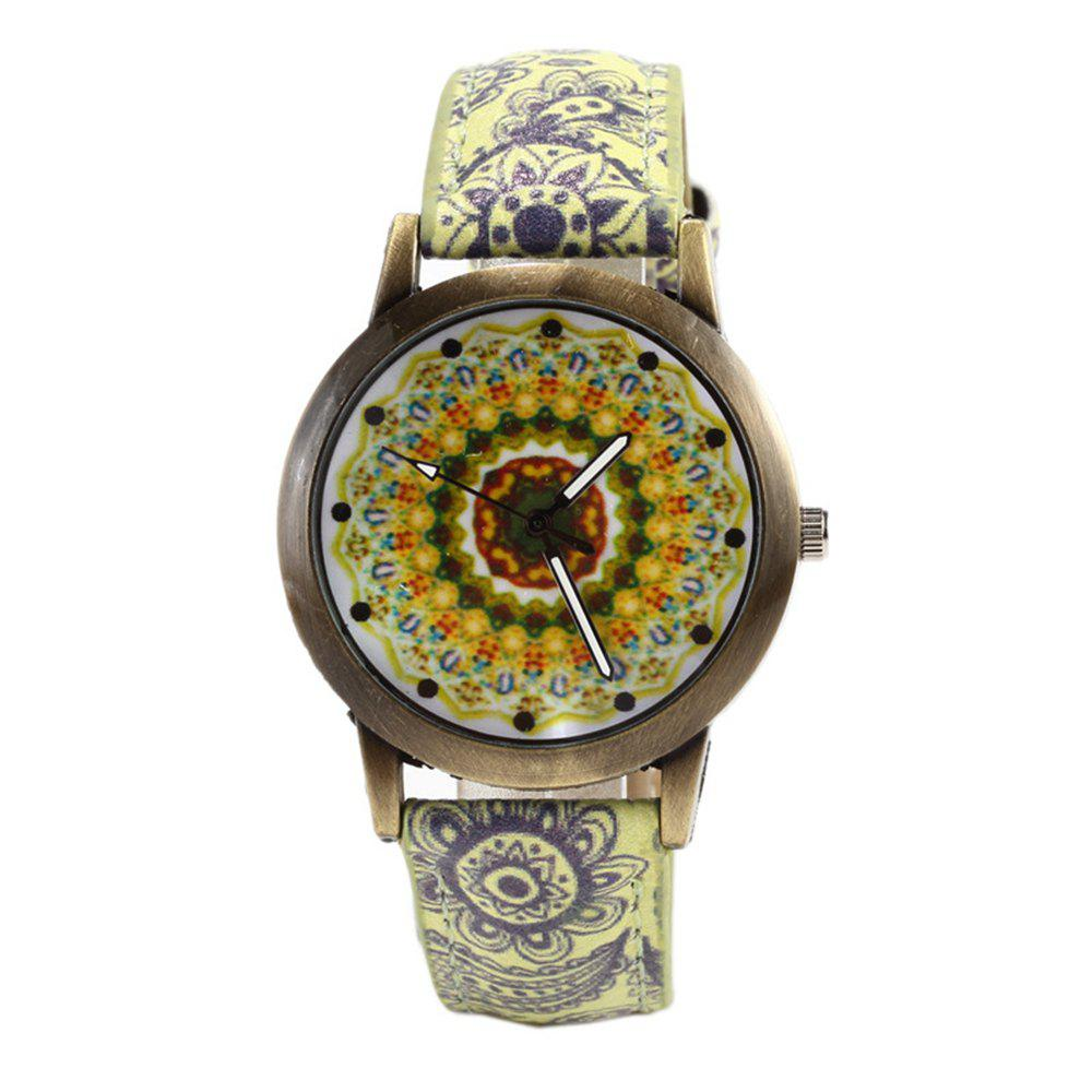 Porcelain Printed Vintage Quartz Student Fashion Watch - FALL LEAF BROWN