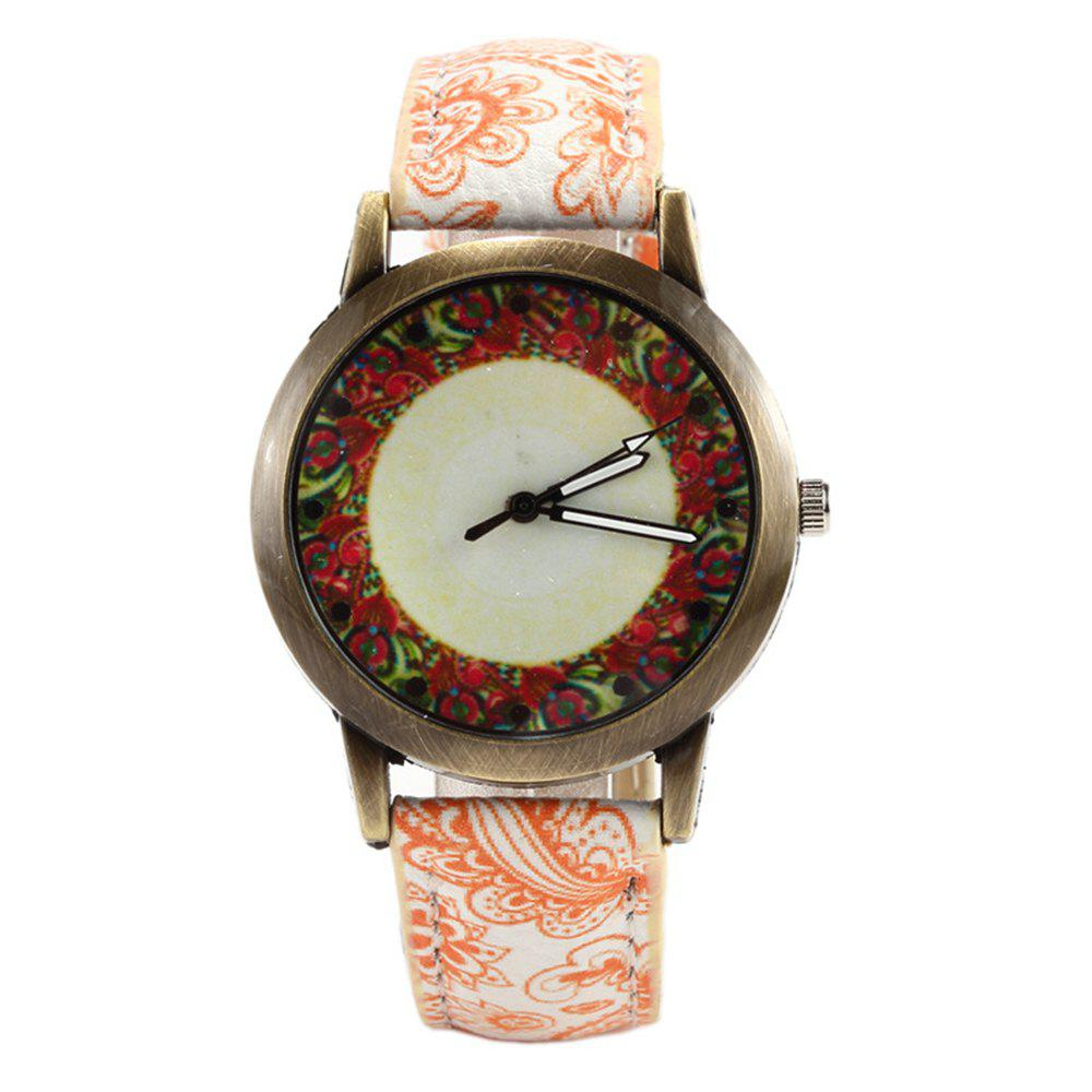 Porcelain Printed Vintage Quartz Student Fashion Watch - SAFFRON