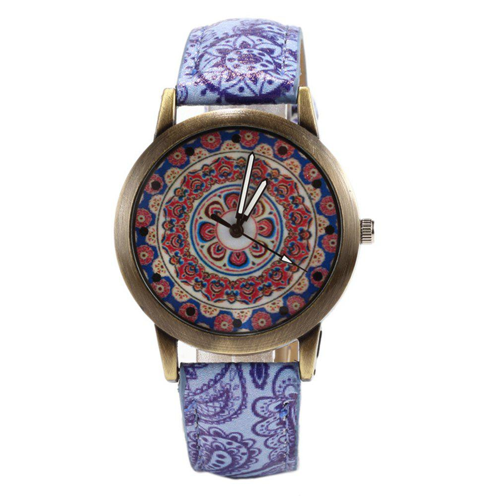 Porcelain Printed Vintage Quartz Student Fashion Watch - PURPLE MIMOSA