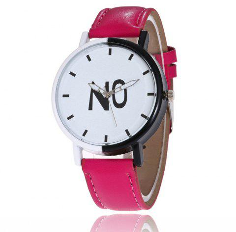 Fashion New Girl Boys Students Leather Watch - CRANBERRY