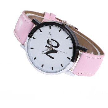 Fashion New Girl Boys Students Leather Watch - PIG PINK