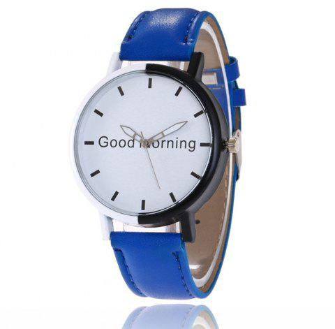 Good Morning English Word Leather Strap Watch - BLUE EYES