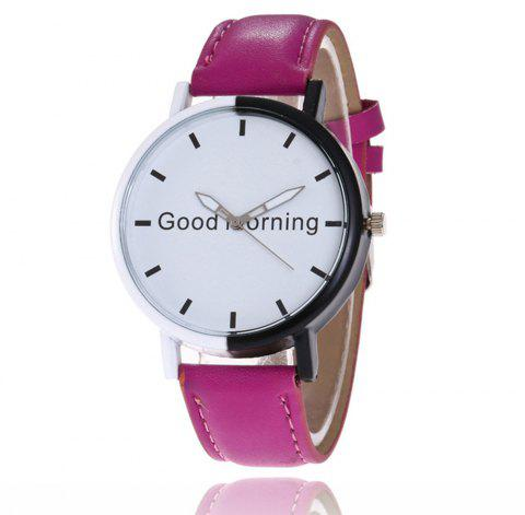 Good Morning English Word Leather Strap Watch - VELVET MAROON