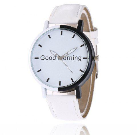 Good Morning English Word Leather Strap Watch - WHITE