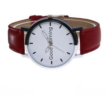 Good Morning English Word Leather Strap Watch - RED WINE