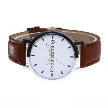 Good Morning English Word Leather Strap Watch - PUCE