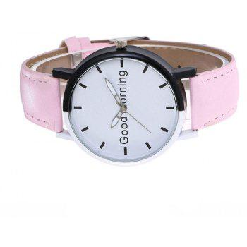 Good Morning English Word Leather Strap Watch - PEARL
