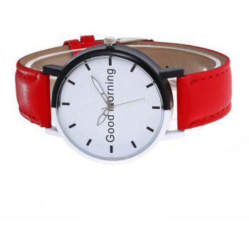 Good Morning English Word Leather Strap Watch - SCARLET