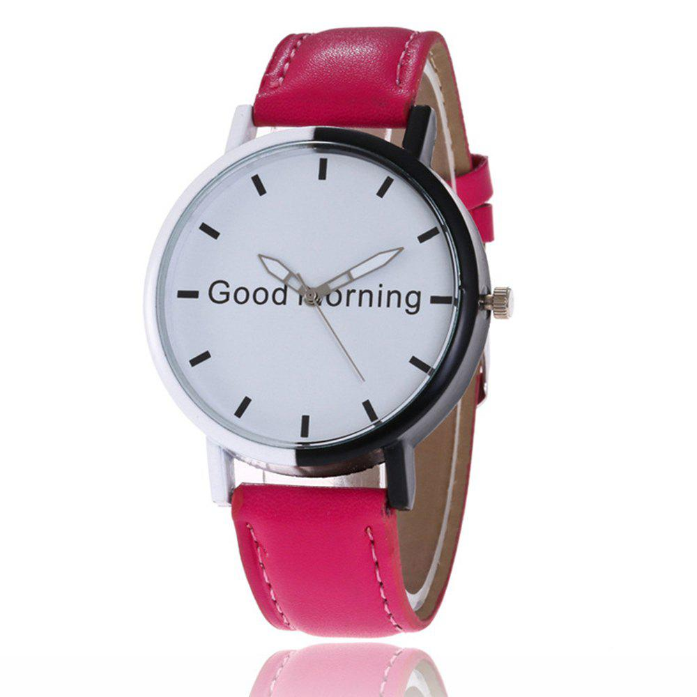 Good Morning English Word Leather Strap Watch - GRAPEFRUIT