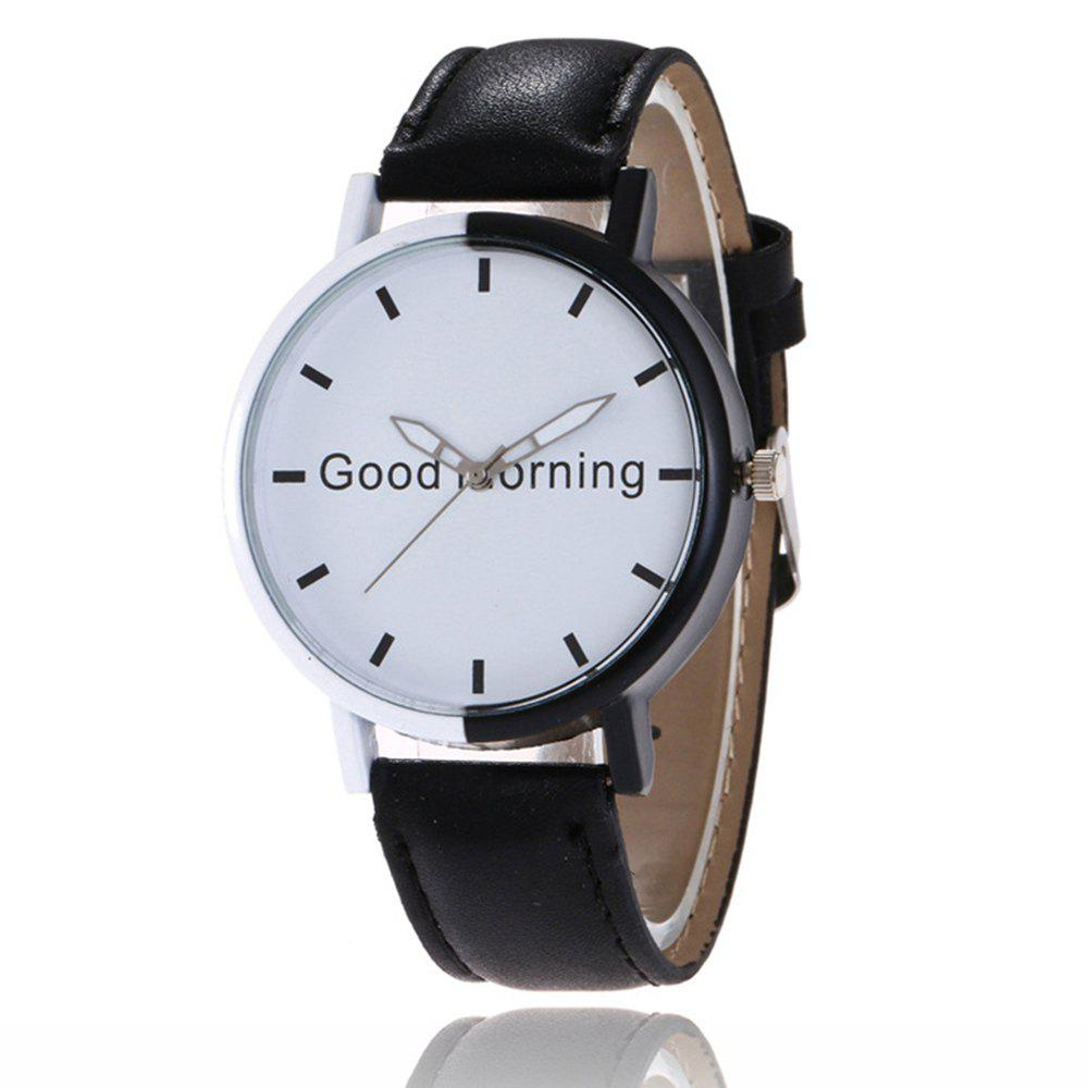 Good Morning English Word Leather Strap Watch - BLACK