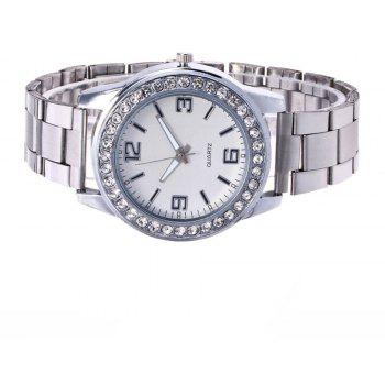 Business Casual Artificial Diamond Studded Steel Strap Watch - PLATINUM