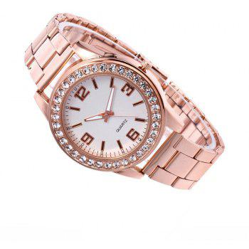 Business Casual Artificial Diamond Studded Steel Strap Watch - multicolor A