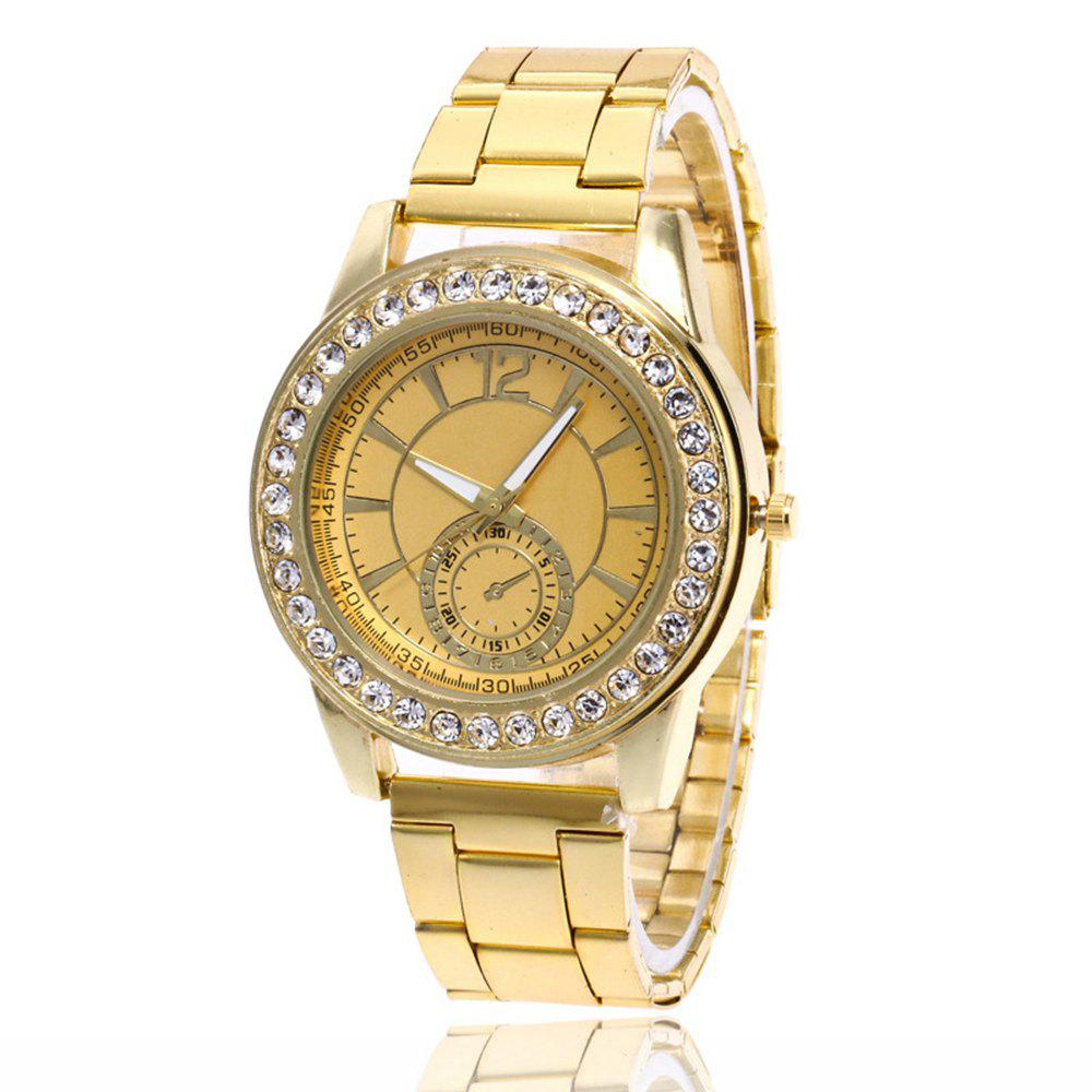 Business Men Fashion Diamond Digital Steel Band Watch - GOLDEN BROWN