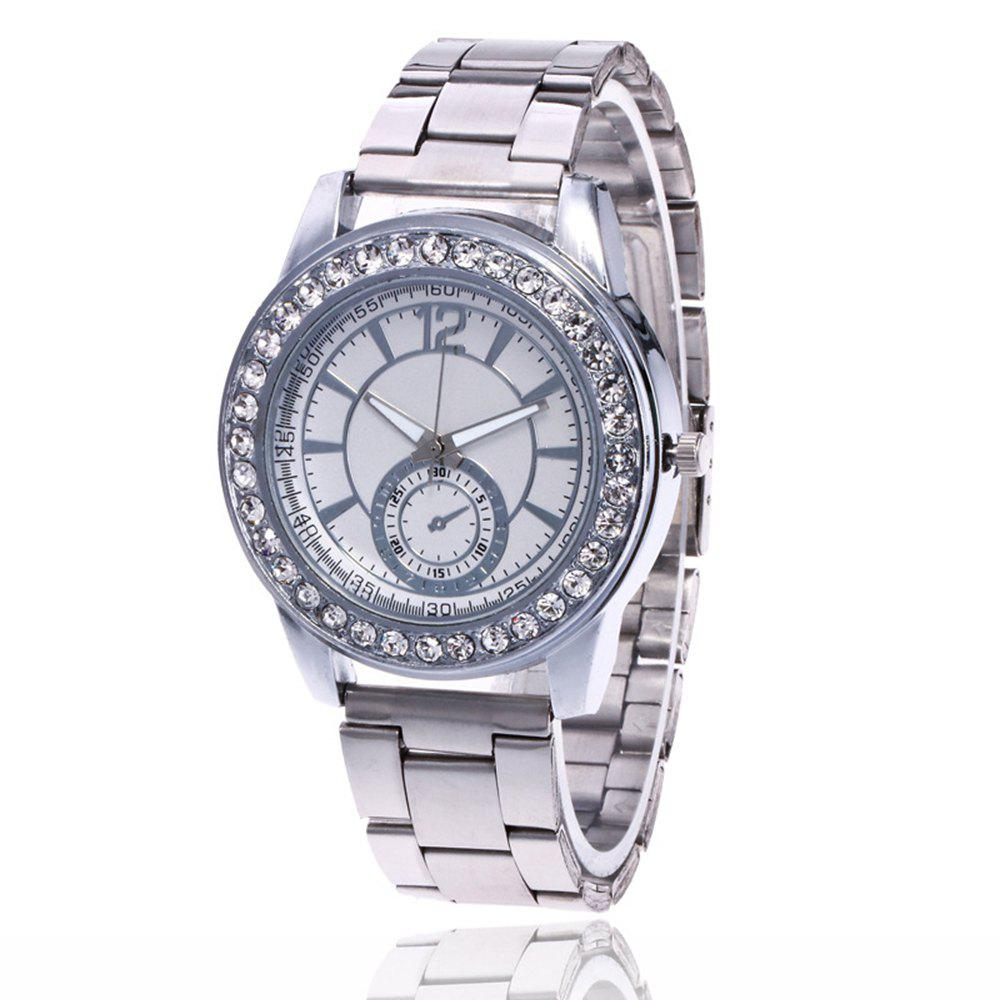 Business Men Fashion Diamond Digital Steel Band Watch - PLATINUM