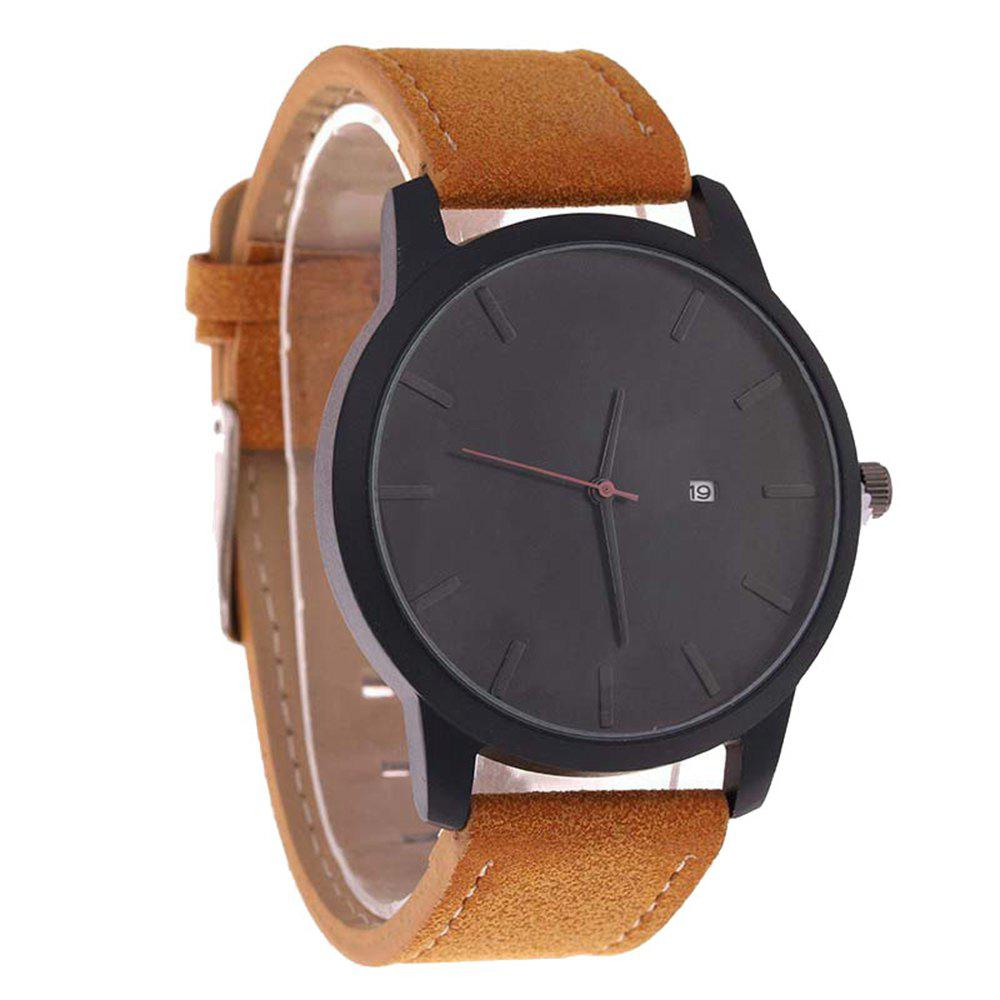 Big Dial Men Calendar Fashion Business Quartz Watch - CAMEL BROWN