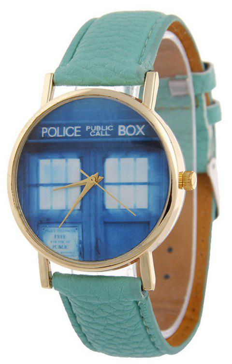 Window Pattern Leather Band Leather Men Watch - MEDIUM FOREST GREEN
