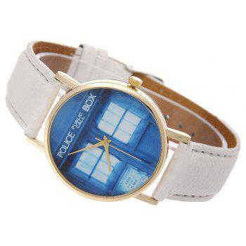 Window Pattern Leather Band Leather Men Watch - WHITE