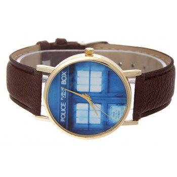 Window Pattern Leather Band Leather Men Watch - BROWN