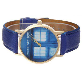 Window Pattern Leather Band Leather Men Watch - NAVY BLUE
