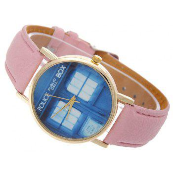 Window Pattern Leather Band Leather Men Watch - ROSE