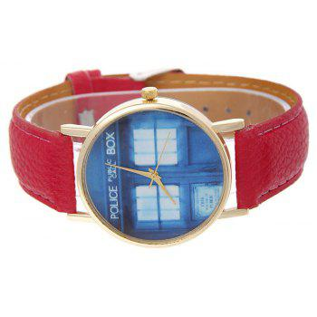 Window Pattern Leather Band Leather Men Watch - RED