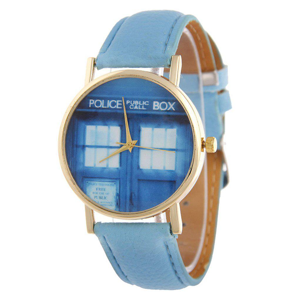 Window Pattern Leather Band Leather Men Watch - SKY BLUE
