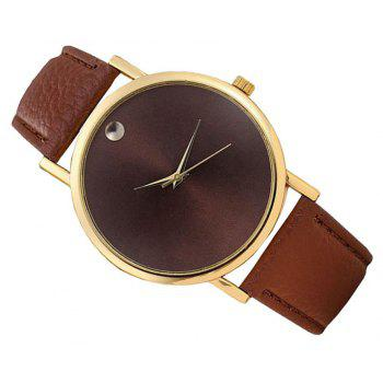 Personality Fashion Men Leather Belt Watch - BROWN