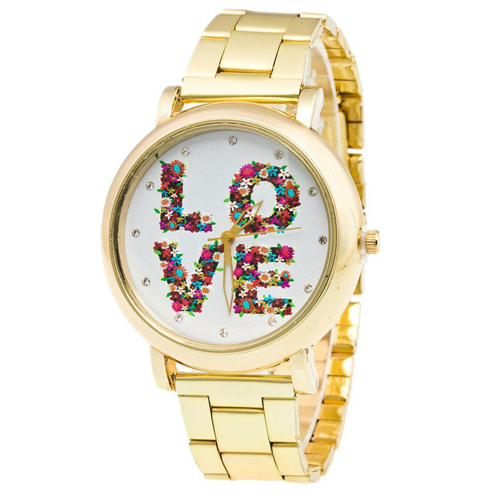 LOVE Pattern Women Artificial Diamond Casual Quartz Watch - GOLDEN BROWN