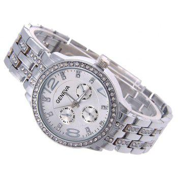 Geneva Stainless Steel Fashion Diamond Lady Watch - PLATINUM