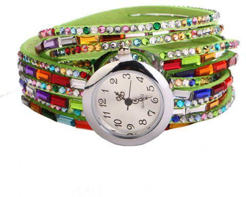 Bohemia Colorful Artificial Diamonds Fashion Women Bracelet Watch - PISTACHIO GREEN