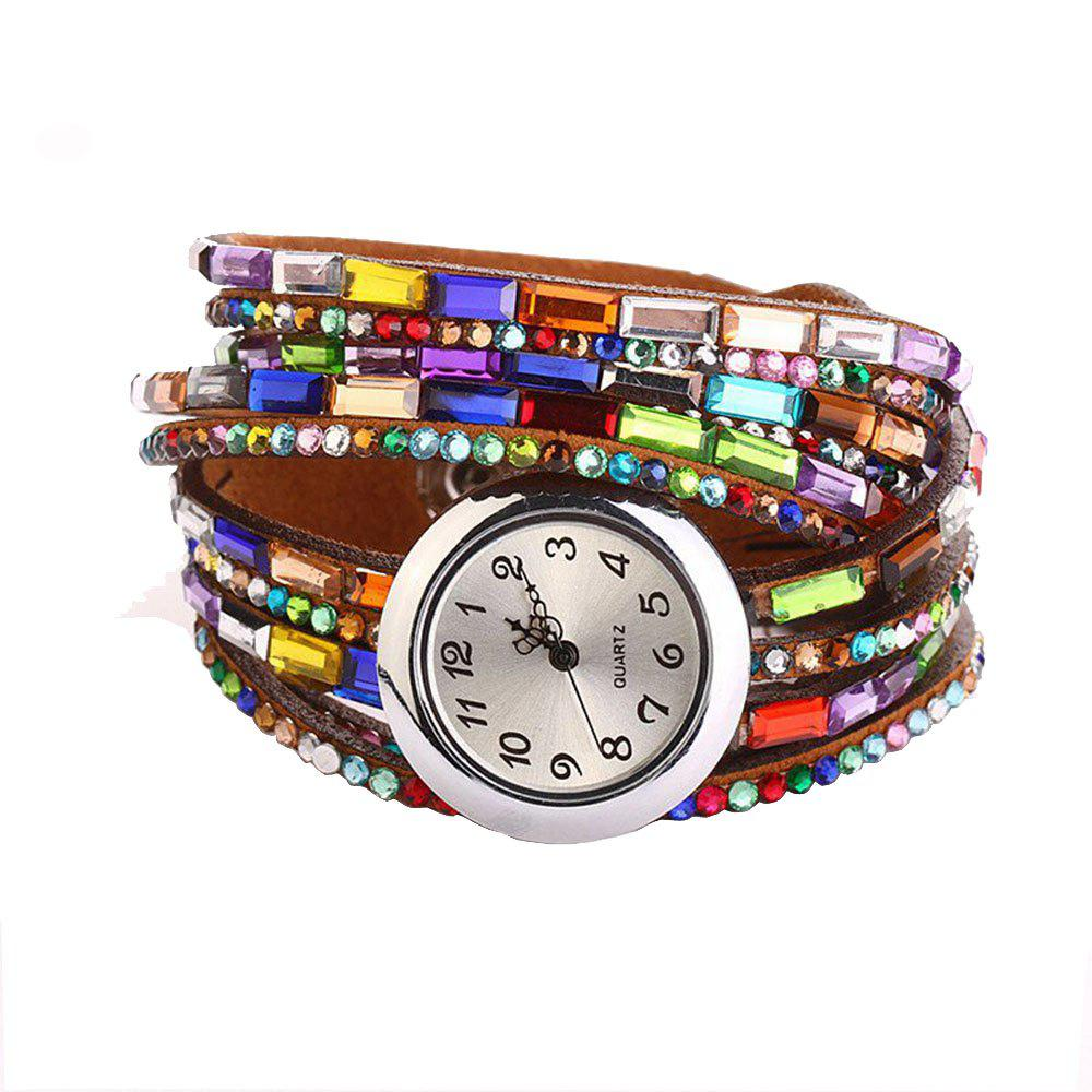 Bohemia Colorful Artificial Diamonds Fashion Women Bracelet Watch - BROWN