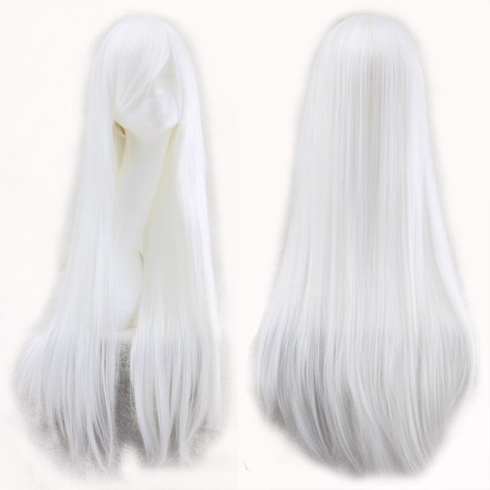 Color Long Straight Hair Cosplay Wig - WHITE