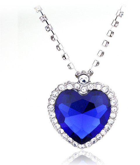 Big Ocean Heart Crystal Pendant Necklace - SAPPHIRE BLUE