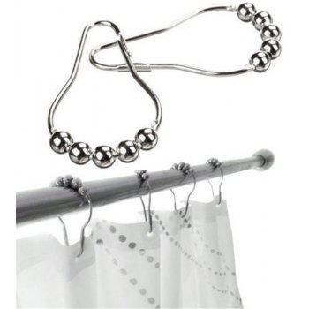 Shower Curtain Hook Polished Satin Nickel Ball 5 Ball Shower Hook Accessories - SILVER
