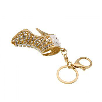 Creative High-heeled Shoes Style Decoration Rhinestone Key Chain - SILVER