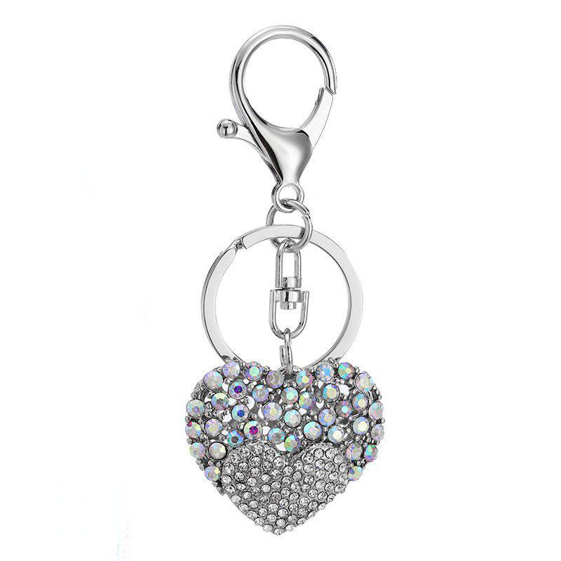 Creative Heart-shaped Decoration Rhinestone Key Chain - SILVER