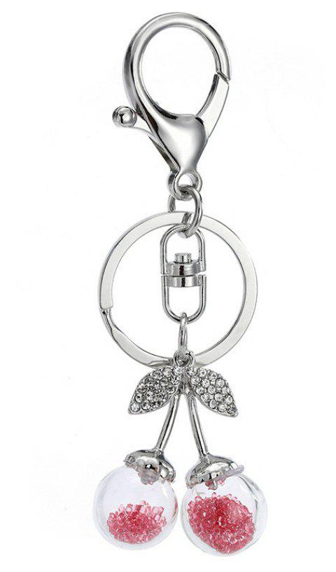 Creative Cute Cherry Shape Decoration Rhinestone Key Chain - SILVER