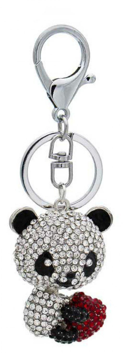 Creative Lovely Bear Shape Decoration Rhinestone Key Chain - SILVER