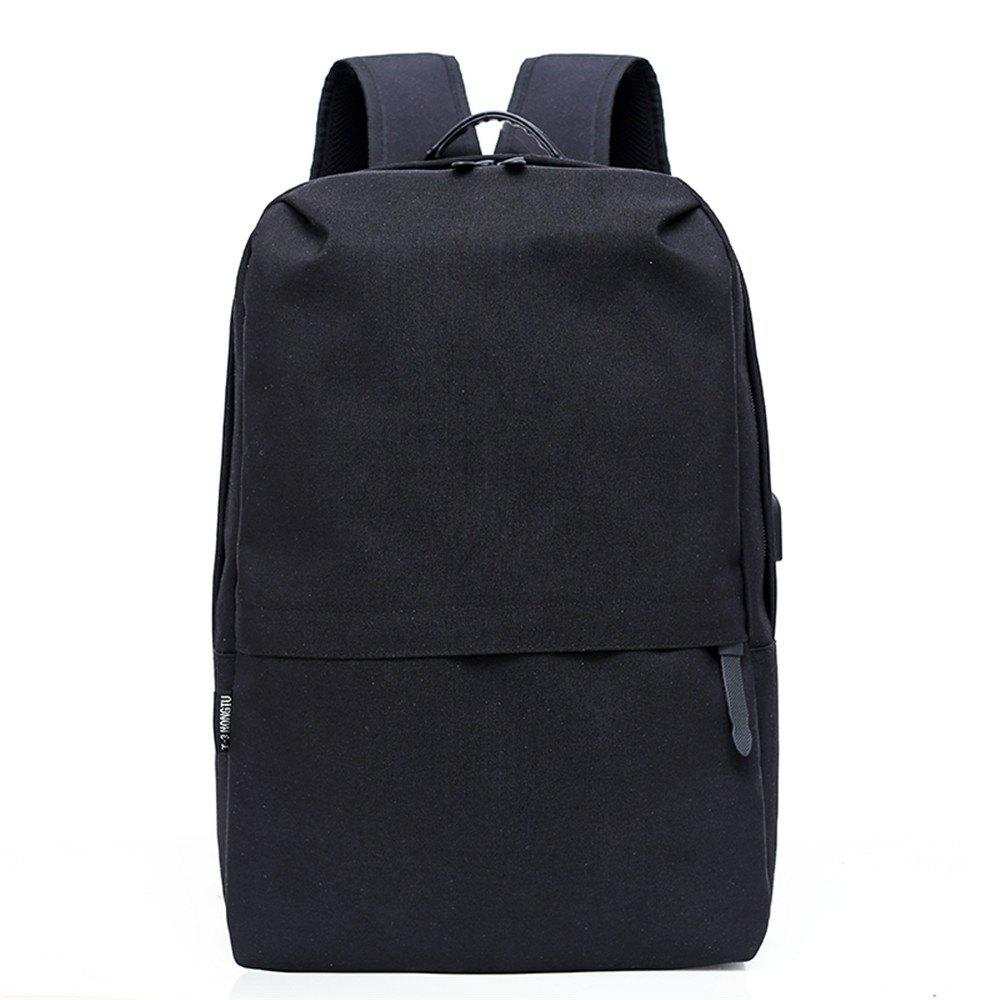 Canvas Large-Capacity Fashion Wild Simple Color Travel Male Travel Backpack - BLACK