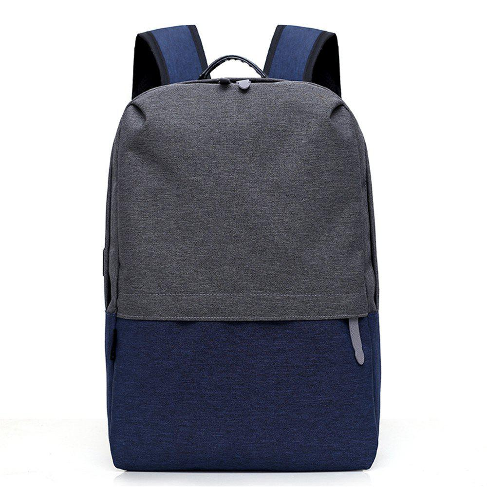 Canvas Large-Capacity Fashion Wild Simple Color Travel Male Travel Backpack - BLUE DRESS