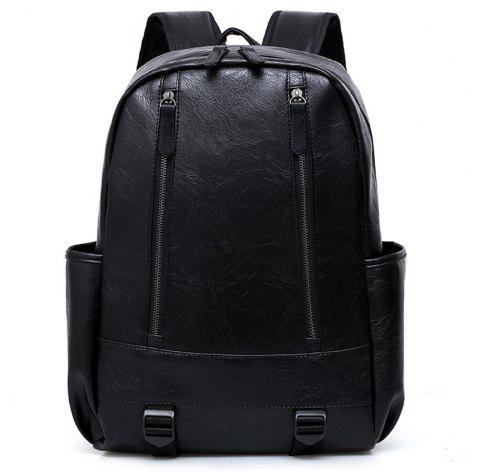 PU Fashion Large Capacity Simple Simple Color Travel Men'S Backpack - BLACK
