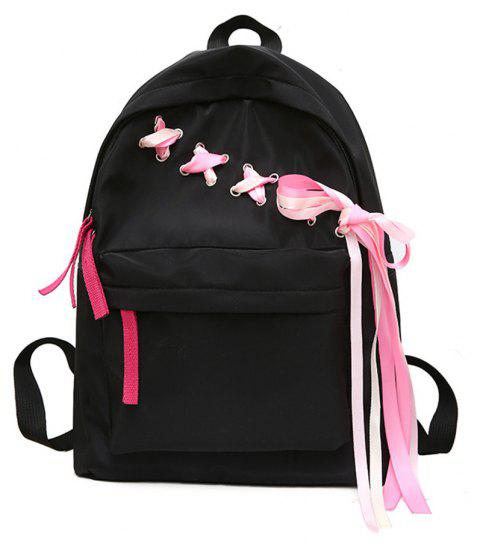 Canvas Small Fresh Fashion Wild Tide Simple Large-Capacity Female Travel Backpack - BLACK