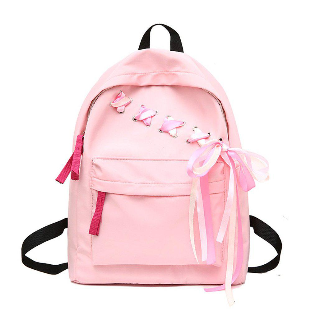 Canvas Small Fresh Fashion Wild Tide Simple Large-Capacity Female Travel Backpack - LIGHT PINK
